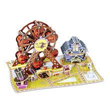 1 Pcs Assemble Wooden Toy For Children Creative 3d Stereoscopic Paper Jigsaw Puzzle Wheel Rotated Pirate Ship Children's Diy Toy(China)