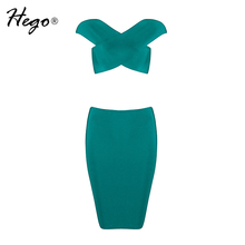 Hego 2016 New Women's Green Criss-Cross Crop Top Mini 2 Piece Sets Suits Sexy Bandage Dress Autumn Dress
