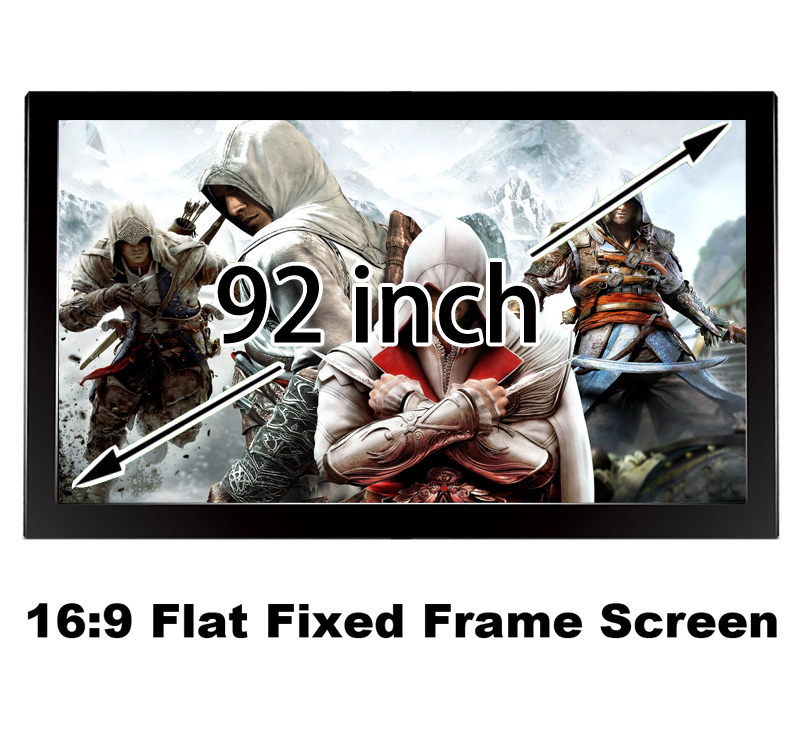 Great Picture Quality Flat Fixed Frame Projection Screen 92inch 16:9 DIY Wall Mount 3D Projector Screens 150 inch 16 9 fixed frame home theater projection projector screen 3 15 wide black velvet coated frames wall mount screens
