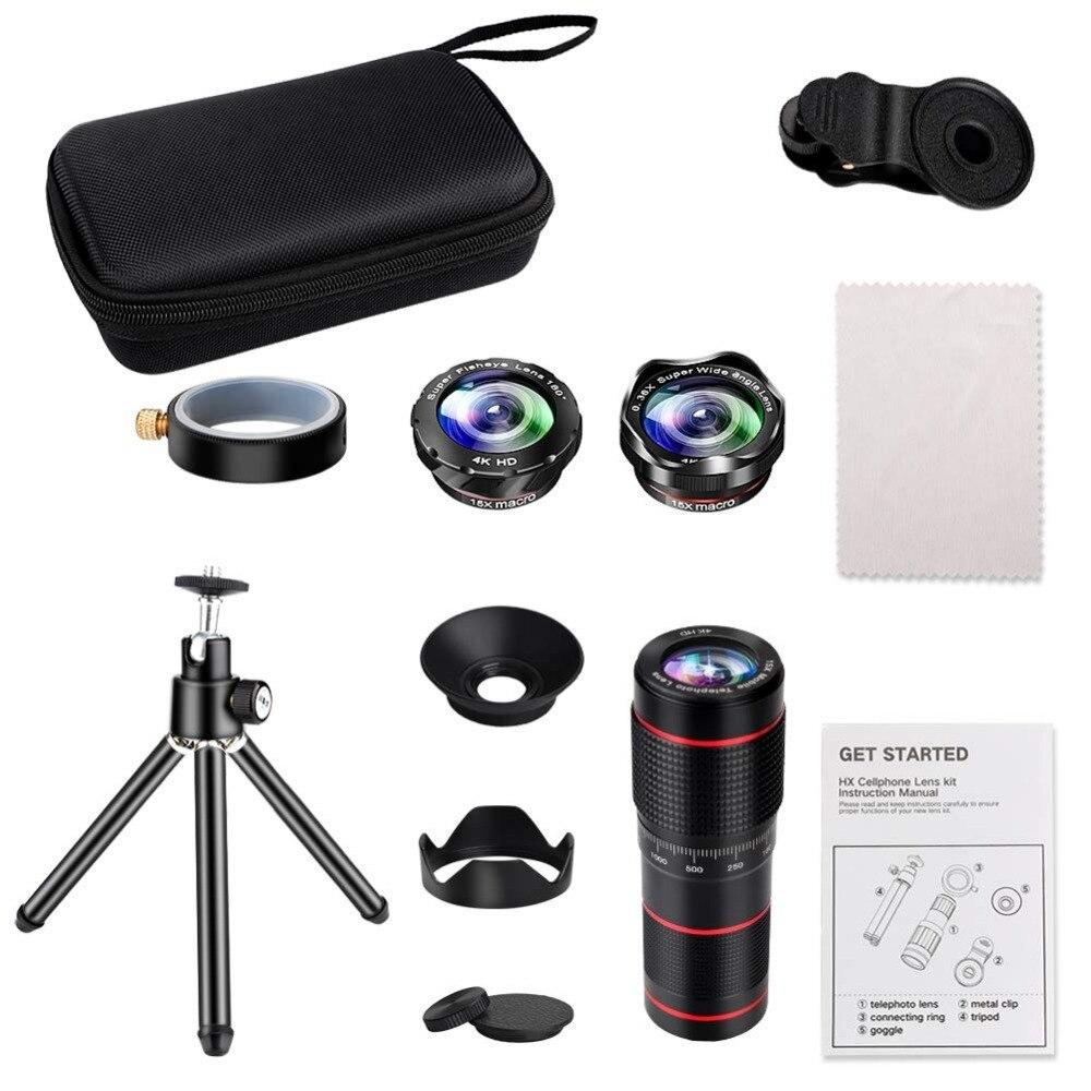 Kits d'objectif de caméra de téléphone à Double régulation: téléobjectif 15X + objectif grand Angle et Fisheye et Macro (2 objectifs) pour la plupart des iOS, Android - 6