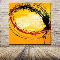 Peint à La main Rouge Noir Jaune Peintures À L'huile Sur Toile Décoration de La Maison Moderne Abstrait Mur de Peinture À L'huile Art Non Encadrée Photos