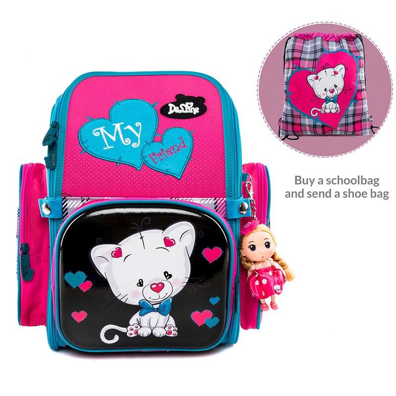 Delune Factory 5 9 Years New School Bags Orthopedic Backpack Satchel Cartoon Mochila Infantil Children School Backpack for Girls-in School Bags from Luggage & Bags    1