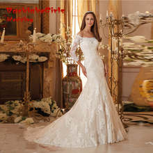 Hot Sale Elegant New Lady Wedding Dress 2017 Custom made Appliques Lace Boat Neck 3/4 Sleeves Bridal Gown Robe De Mariage