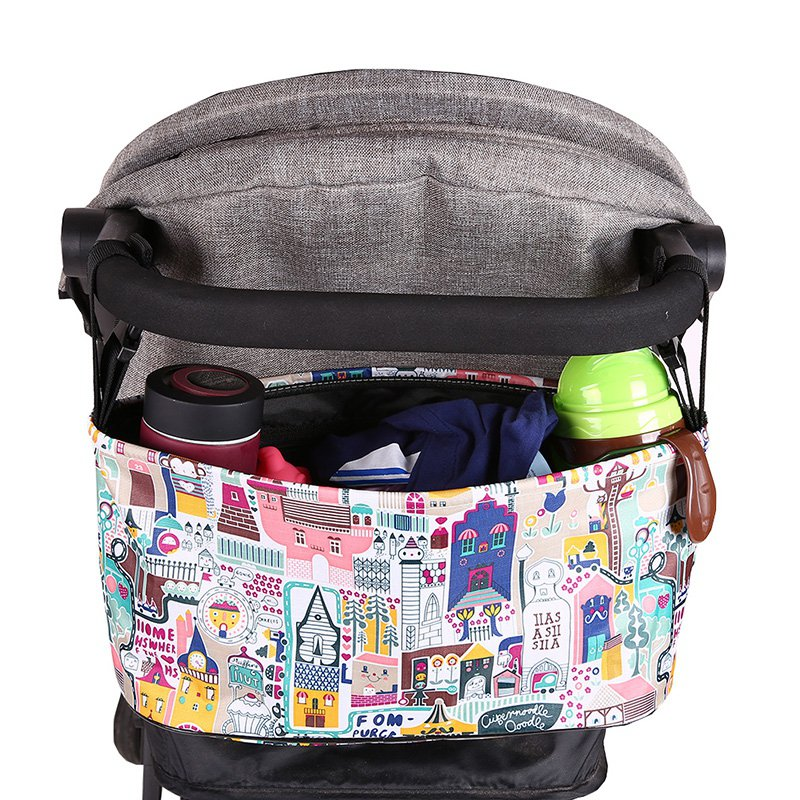 Waterproof Large Capacity Baby Stroller Accessories Diaper Nappy Bag Cartoon Color Folding Animal Stroller Organizer Bag