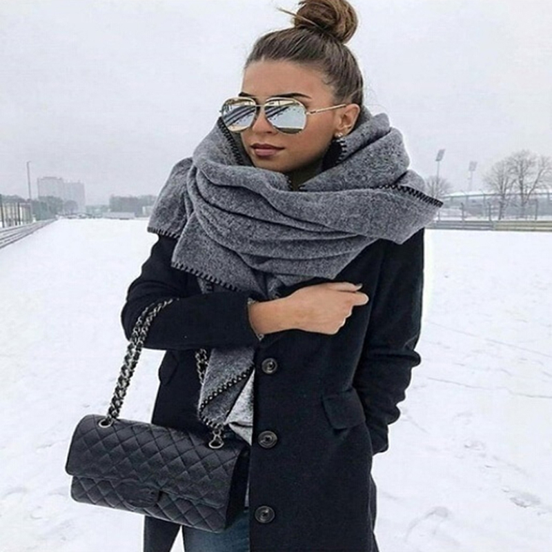 New Fashion Winter Thick Warm Big   Scarf   Shawl Women   Wraps   Vintage Polar Fleece Windproof Solid Color Wild Shawl   Scarves