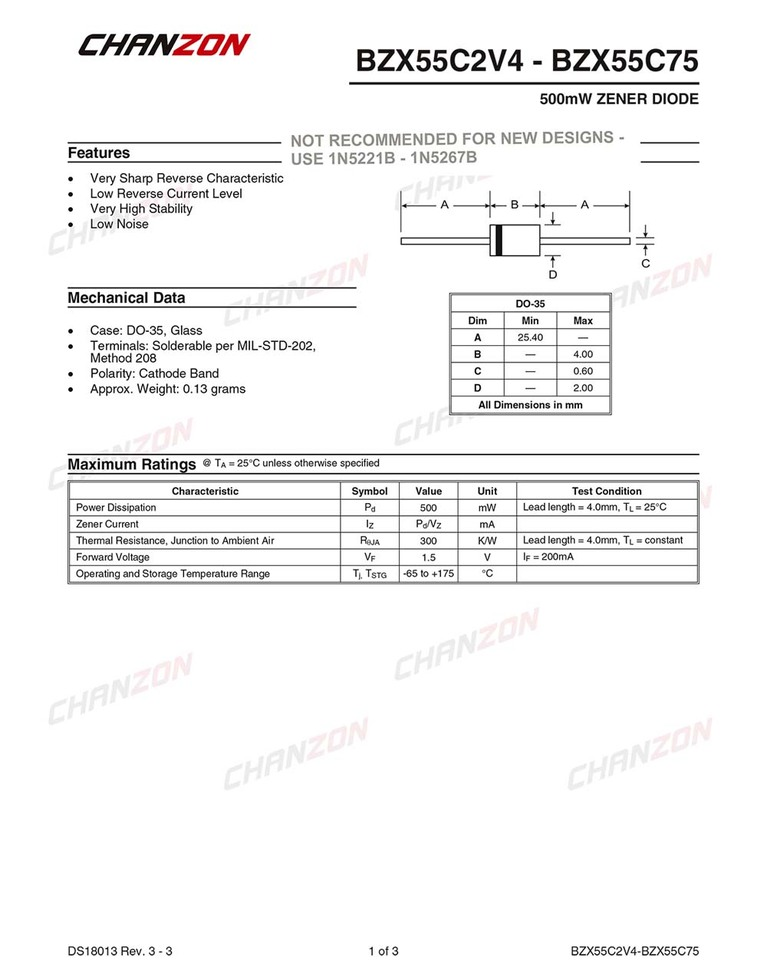 Zener 0,5W 15V Ammo Pack DO35 Diode BZX55C15 Zener Diodes THT Diode