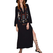 ilstile 2017 BOHO Vintage Womens Long Sleeve Lace Up V Neck Floral Embroidery Split Long Maxi Dress Sundress Summer Beach Black