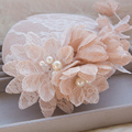 SoAyle 2016 Chapéus Do Casamento Corte Borda Frisado Appliqued vestido de Pérolas de Cristal Artificial Malha Flor De Corte Manual de Linho Chapéus De Noiva