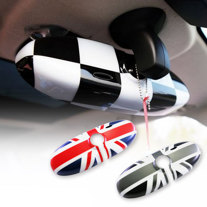 1Pcs Rearview Mirror Cover Interior View Mirror Shell Cover Car-styling For BMW Mini all series Union Jack Checkered Lahore