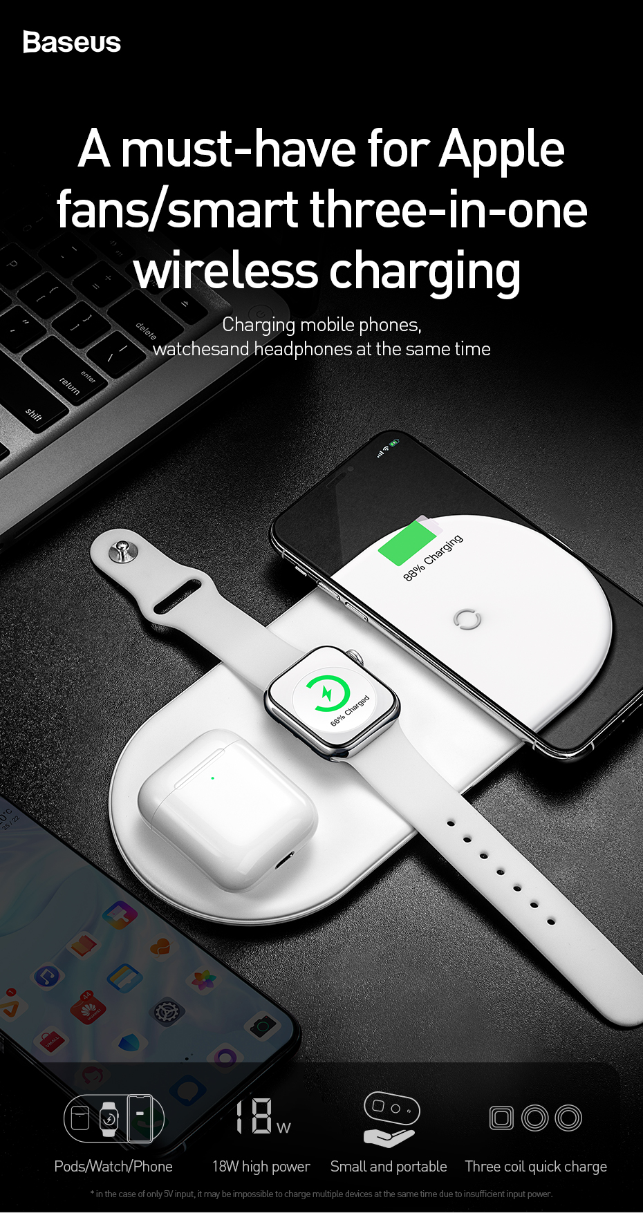 3 in 1 QI Wireless Charging Pad 6