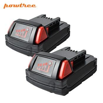 Powtree 2PACK 18V 2000mAh 2.0AH For Milwaukee M18 XC Li-Ion Replacement Battery M18 48-11-1815 M18B2 M18B4 M18BX L30
