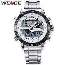 Weide hombres de negocios cuarzo reloj Dual Time Zone Top Brand gran Dial de acero inoxidable deportes regalo reloj relogio del LED / WH1104 Relojes de pulsera relojes hombre marca famosa lujo