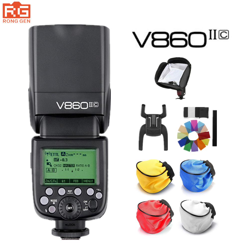 Godox Ving V860II V860II-C E-TTL HSS 1/8000 Li-ion Battery Speedlite Flash for Canon DSLR godox ving v860n speedlite ttl li ion speedlight flash high speed godox ft 16s wireless flash trigger kit for nikon dslr