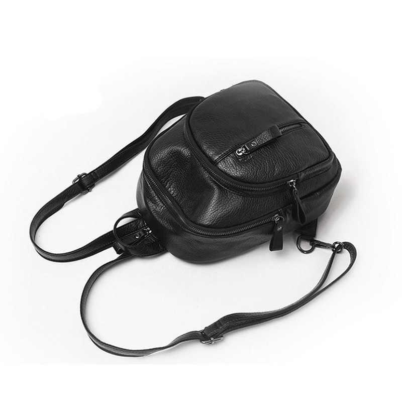Vintage Mini Rucksack Zwei Zipper Frauen Rucksack Gute Qualität Schwarz PU Leder Rucksack Sac a Dos Femme Hohe Kapazität Reise tasche
