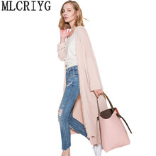 European Long Women cardigan 2019 Summer Long Sleeve V Neck Cardigans Spring Female Long Tassel Coats Outwear Abrigos Mujer 160(China)