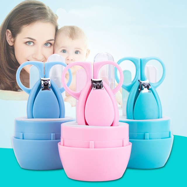 BalleenShiny 4PCS Baby Nail Clippers Set Infant Finger Trimmer Scissors Newborn Infant Safety Nail Care Suit Hot Sale Baby Care
