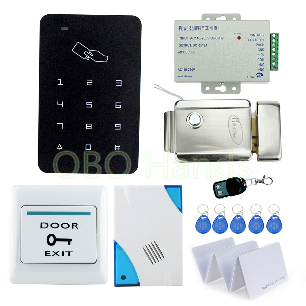 Full Complete Door Access Control Security System Kit Set With Electric Control Lock + ID Card Reader+ Power Supply+Door Switch rfid security door lock system kit set with touch access control card reader electronic door lock for wooden door id keychains