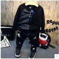 Crianças coreanas 2016 inverno novo menino contraiu bonito costura engrossado roundneck T-shirt hoodies