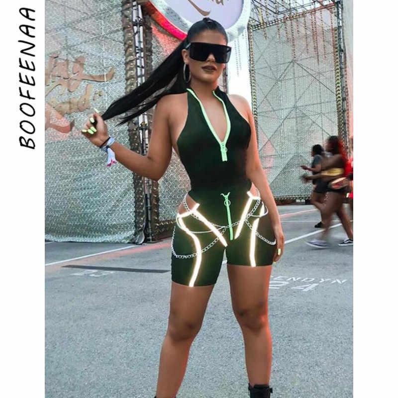 BOOFEENAA ストリートファッションセクシーなツーピースショートセット流行の服の夏の衣装女性ネオンジッパーバイカー Shorta C87-AB94