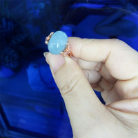Free Shipping Genuine Natural Blue Gems Stone Transparent Crystal Beads Resizable Size Fashion Party Rings Just One