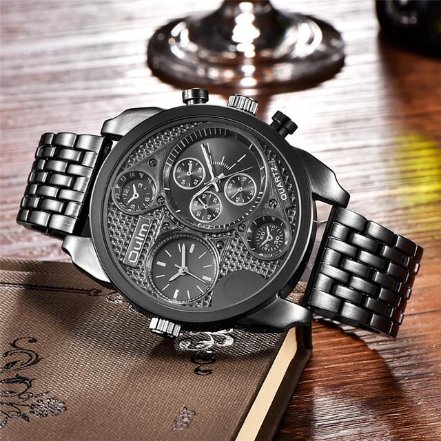 Oulm Luxury Brand Big Men Full Steel Watch Gold