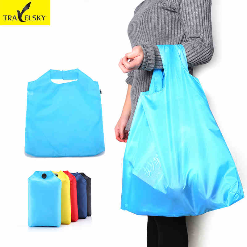 TRAVELSKY Portable Foldable Shopping Bag Large Capacity Nylon Bags 5 Color Waterproof Thick