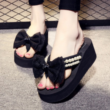Handmade New Bow Flip-flops Ladies High-heeled Sandals and Slippers Wholesale Summer Wedge Fashion  Womens Shoes