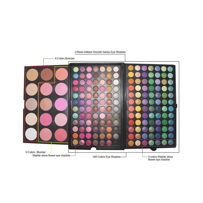 Full professional makeup set 183 Color Eyeshadow Palette Set Make up Pallete 168 Eye shadow 15 Blush Kit Cosmetics matte glitter все цены