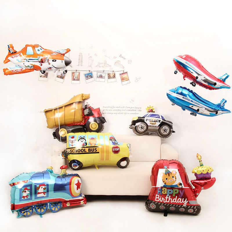 Baru Mainan Besar Mobil Foil Balon Hadiah Tangki Pesawat Ambulans Bus Truk Pemadam Kebakaran Bayi Ulang Tahun Pesta Dekorasi Liburan balon