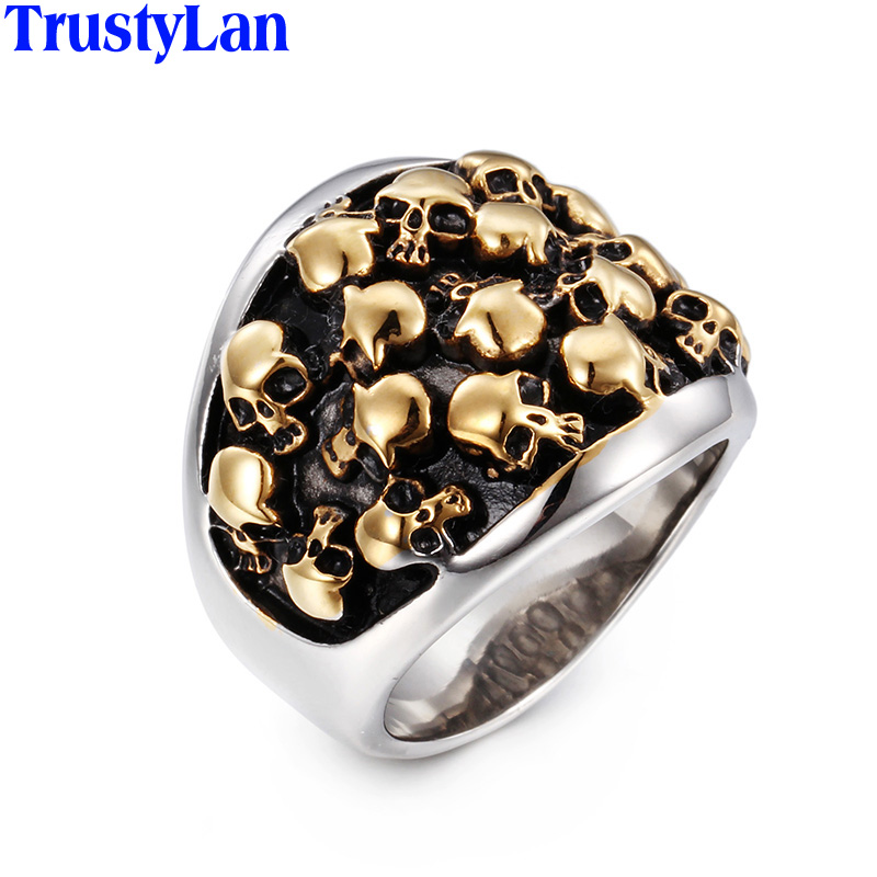 TrustyLan Hot Selling Punk Rock Never Fade Gold Color Stainless Steel Skull Rings For Men Variety Skeleton Biker Jewelry Anel