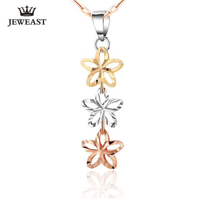 18K Pure Gold Pendant Rose Yellow Mult-Color Genuine Fine Jewelry Charm Women Three Star Lady Upscale Hot Selling Cute Necklace