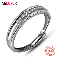 925 Silver Ring Unisex Fashion Simple Inlaid AAA Crystal Zircon Cross Men Women Ring 100% Sterling Silver Brand Jewelry thailand imports men s black zircon 925 sterling silver ring side face