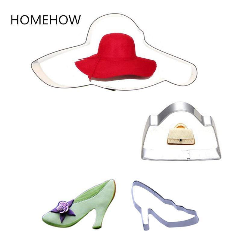 3PCS/Set Lady Clothing Accessores Cookie Cutter Set Cap Bag High Heel Shoe Metal Paste Decorative Tools DIY Kitchen Baking Tools