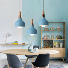 Blue Pendant Light For Kitchen Island Metal Lighting Fixtures Bedroom Lights Bar Modern Ceiling Lamp Wood Pendant Lamps 1pcs kitchen island lamps modern ceiling lamp vintage bar pendant lights loft wrought aluminum metal lighting fixtures for one pic