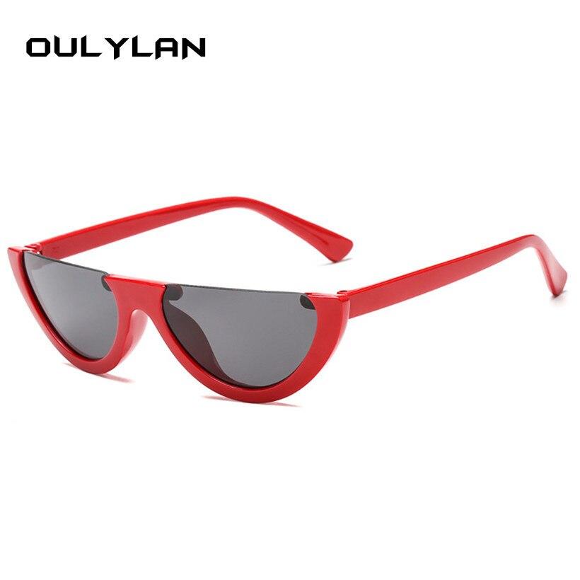 269c418f7e854 Oulylan Olho de Gato Do Vintage Óculos De Sol Das Mulheres Marca de Luxo  Designer de Meia Armação Tendência Senhoras Ao Ar Livre Óculos de Sol  Personalidade ...