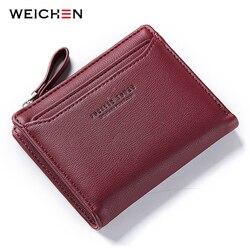 WEICHEN женские кошельки с индивидуальным держателем для ID карты на молнии с карманом для монет женские маленькие кошельки женский кошелек ...
