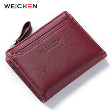 WEICHEN Women Wallets With Individual ID Card Holder Zipper Coin Pocket Ladies Small Purses Female Wallet Carteira High Quality cheap Polyester Standard Wallets Tassel Letter Synthetic Leather Coin Pocket Photo Holder Note Compartment Zipper Poucht Card Holder