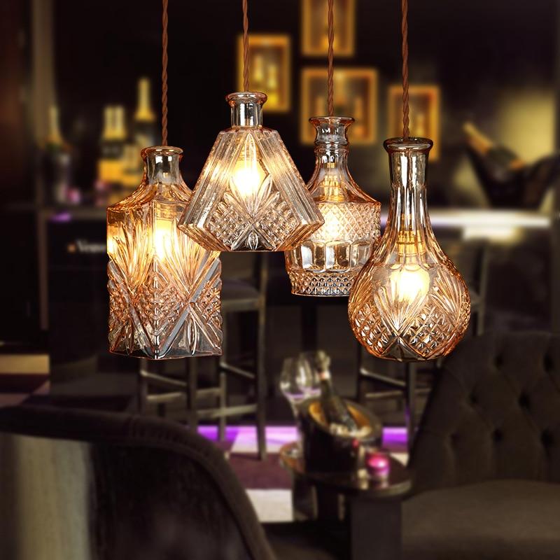 ФОТО Glass Bottle Pendant lights Transparant/ Amber Retro Pendant Lamp 3/4 Heads for Coffee House Minimalism Hanging Lighting Fixture