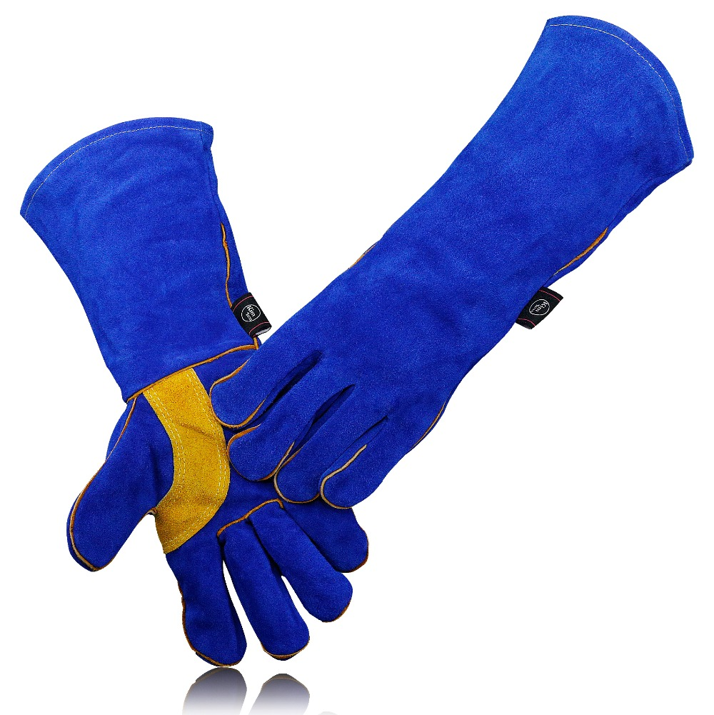 KIM YUAN 009 011L Leather Welding Gloves Heat Fire Resistant for Gardening Tig Weld Beekeeping BBQ Blue yellow 14in 16Inches in Safety Gloves from Security Protection