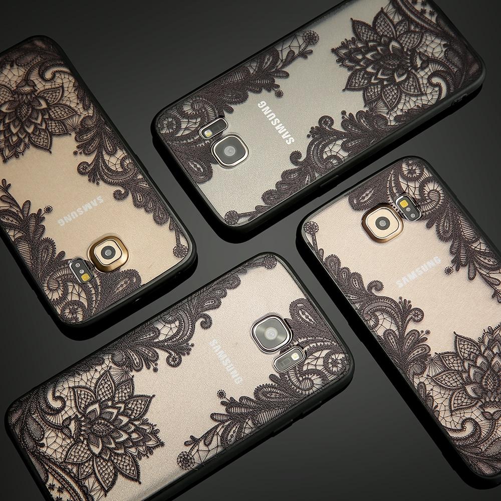 <font><b>Sexy</b></font> Retro Floral <font><b>Phone</b></font> <font><b>Cases</b></font> For iPhone 7 6 6s Plus Funda Lace Flower Soft TPU Cover For <font><b>Samsung</b></font> Galaxy S7 S6 edge S8 Plus <font><b>Case</b></font>
