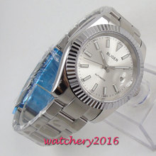 купить 2019 New Arrival 40mm Bliger Silver dial luminous markers Stainless steel case Sapphire Automatic movement Men's business Watch дешево