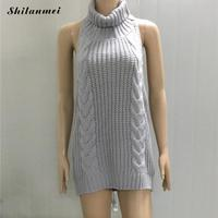 2017 Hot Sexy Tie Open Backless Long Virgin Killer Sweater Turtleneck Sleeveless Japanes Knitted Women Sweaters And Pullovers