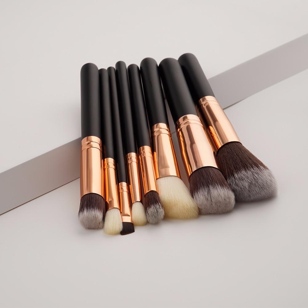 f7804a2b69a5 US $10.6 |8PCS Black Handle Makeup Brushes Set Rose Golden Beauty Cosmetics  Eyeshadow Eyebrow Brush for Powder Face Pinceis Kabuki Kwasten-in Eye ...