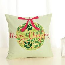 Cartoon  Santa Claus gifts  Printed Christmas Cotton linen blend Throw Home Decorative Cushion Cover  Cojines  Throw Pillowcase christmas tree printed decorative thick throw pillowcase