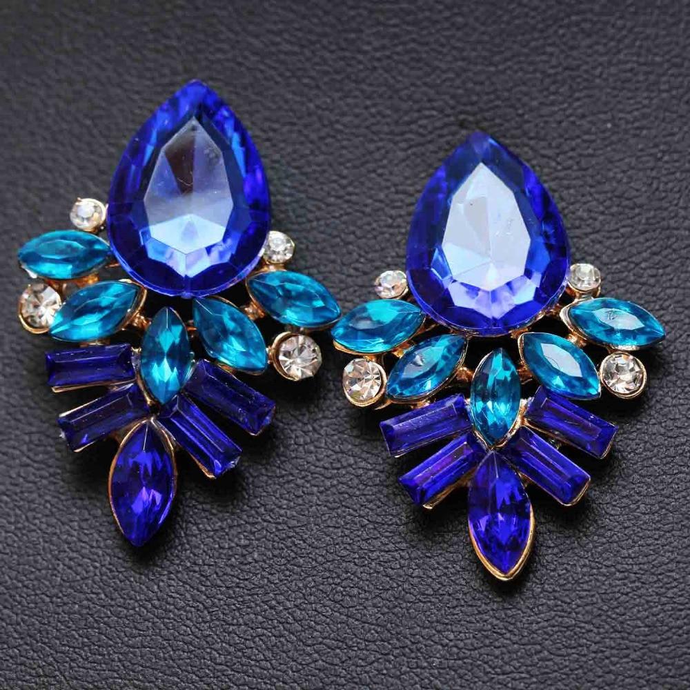 NEW Women Fashion Jewelry Style Blue/Black/Pink Earrings Handmade Rhinestone sweet stud crystal Dangle earrings for women girl