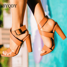 BYQDY New 2019 Gladiator Ankle Strap Sandals PU Square Heels Women Summer Shoes High Heels Roman Party Dress Shoes Comfortable цена