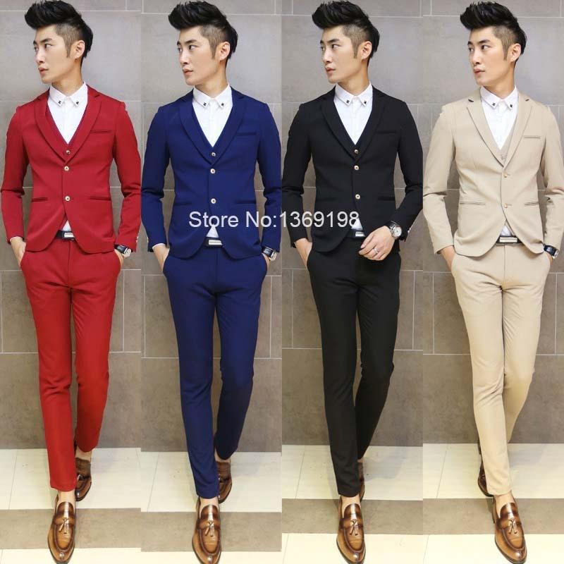 Blazer Vest Pant)2015 New Mens Slim Fit Casual Suits Blazer Vest ...