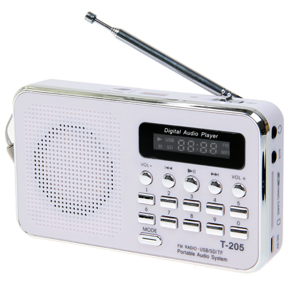 Hot Sale T- 205 FM Radio Portable HiFi Card Speaker Digital Multimedia MP3 Music Loudspeaker White Camping Hiking Outdoor Sports