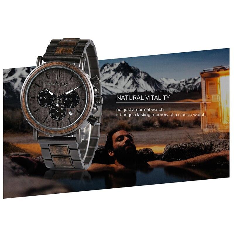 BOBO BIRD Wood Watch Men Stopwatch erkek kol saati Wooden Wristwatches Male Show Date Create Gift saat erkek relogio masculino in Quartz Watches from Watches