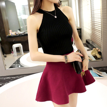 Sexy black Women Sweaters Pullover o neck Sleeveless Jumpers Crewneck Ribbed summer 2019 Knitted tunic shirt